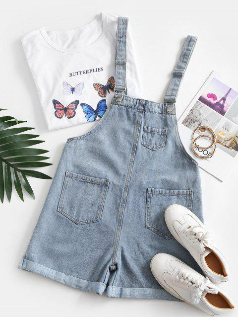 women Cuffed Hem Pockets Denim Overalls Romper - LIGHT BLUE S Mobile
