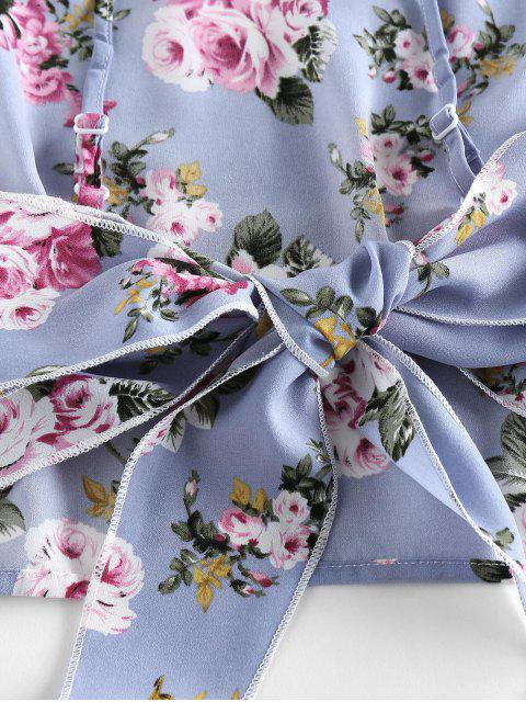 ZAFUL Gebundenes Blumen Rüschen Shorts mit Weitem Bein Set - Blaugrau M Mobile