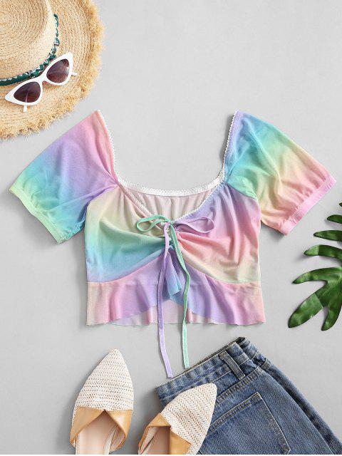outfits Tie Dye Cinched Front Mesh Top - LIGHT PURPLE M Mobile