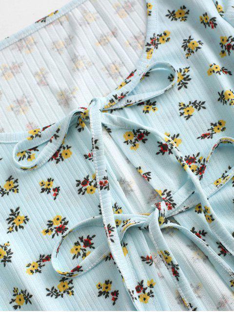Haut Côtelé Fleuri Imprimé Noué en Avant à Double Bretelle - Bleu clair L Mobile