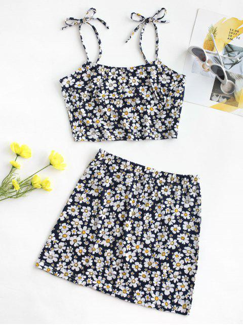 shop Tie Floral Two Piece Dress - DEEP BLUE M Mobile