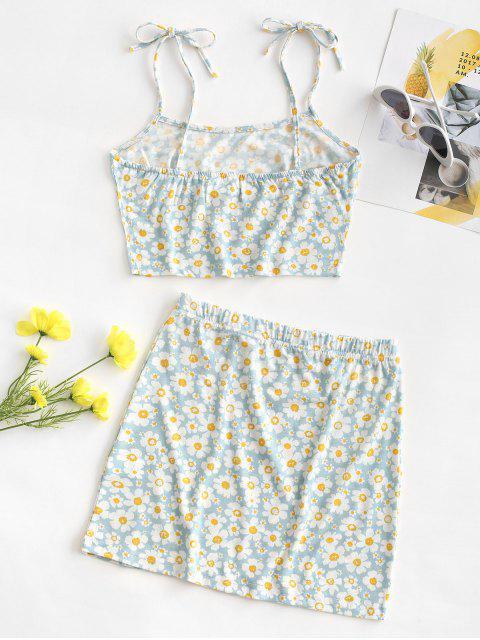 women Tie Floral Two Piece Dress - LIGHT BLUE M Mobile
