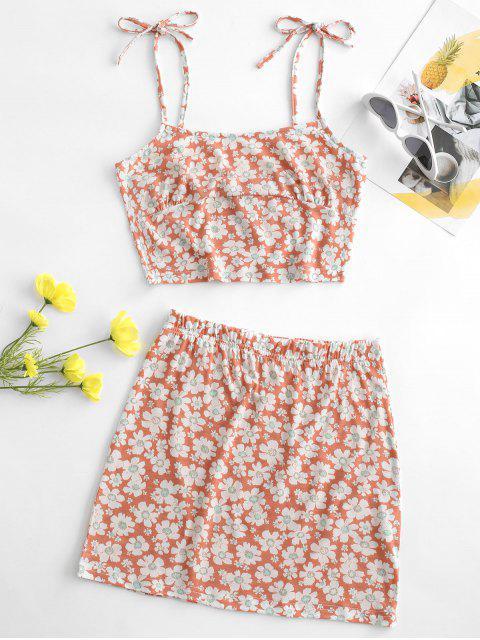 women's Tie Floral Two Piece Dress - LIGHT PINK XL Mobile