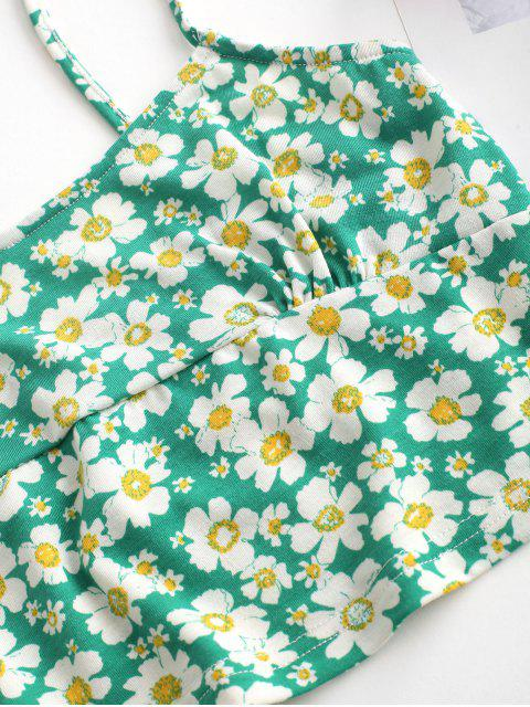 new Tie Floral Two Piece Dress - GREEN M Mobile
