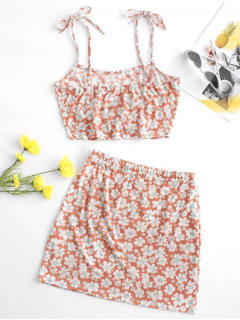 latest Tie Floral Two Piece Dress - LIGHT PINK L Mobile