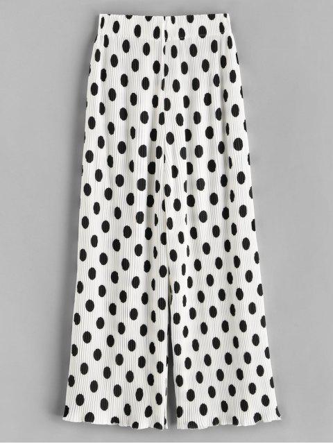 chic Pleated Polka Dot Wide Leg Pants - WHITE S Mobile