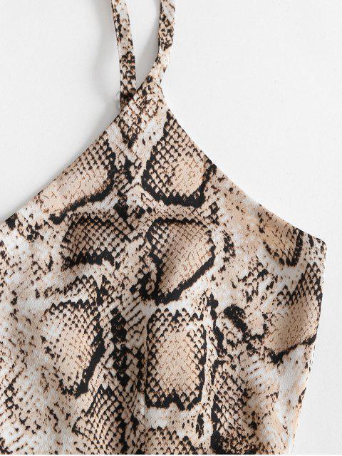 ladies ZAFUL Snake Print Ruffled Hem Cami Romper - MULTI-A L Mobile