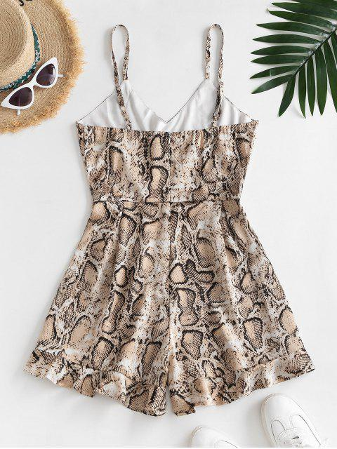 fancy ZAFUL Snake Print Ruffled Hem Cami Romper - MULTI-A M Mobile