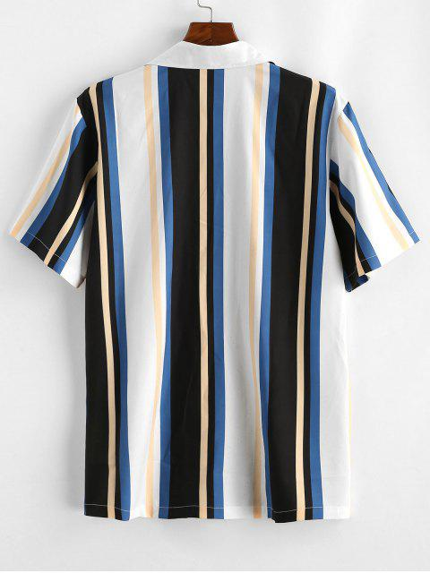 shop Striped Colorful Printed Short Sleeves Shirt - WHITE L Mobile
