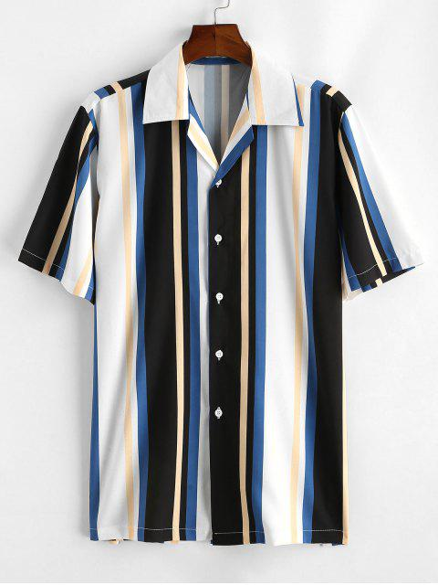 Gestreiftes Buntes Bedrucktes Hemd mit Kurzen Ärmeln - Weiß XL Mobile