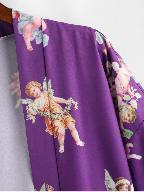 chic Angel Print Open Front Kimono Cardigan - PURPLE S Mobile