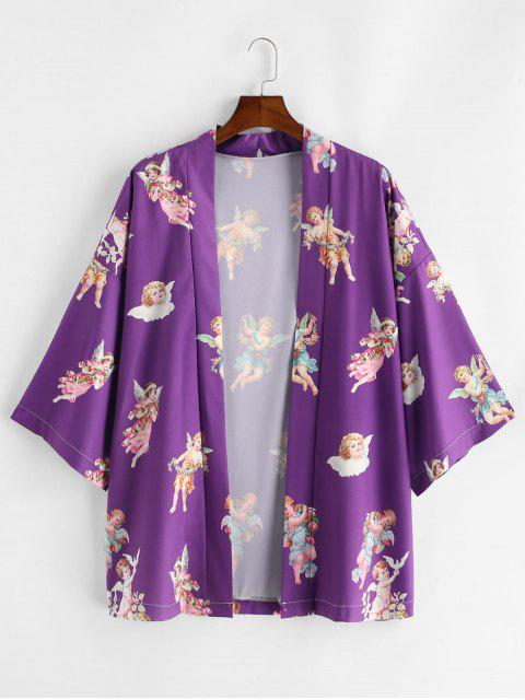 fancy Angel Print Open Front Kimono Cardigan - PURPLE M Mobile