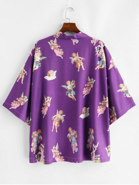 sale Angel Print Open Front Kimono Cardigan - PURPLE XL Mobile