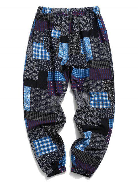 Pantalones Jogger Talla Extra Estampado Tribal - Azul Profundo L Mobile