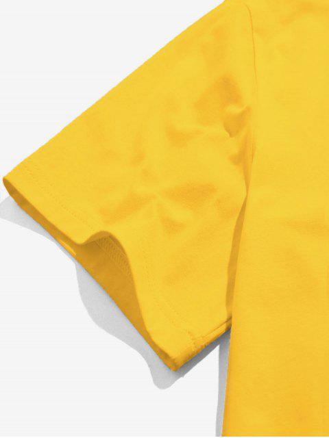 ZAFUL T-shirt de Mangas Curtas Bordado de Rosa - Amarelo 2XL Mobile