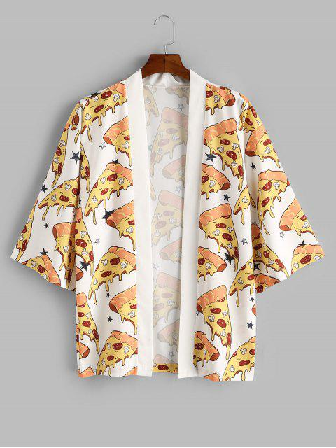 Cardigan Kimono Ouvert en Avant Pizza Imprimé - Blanc S Mobile