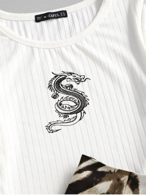 sale ZAFUL Dragon Oriental Ribbed Animal Print Two Piece Dress - WHITE M Mobile