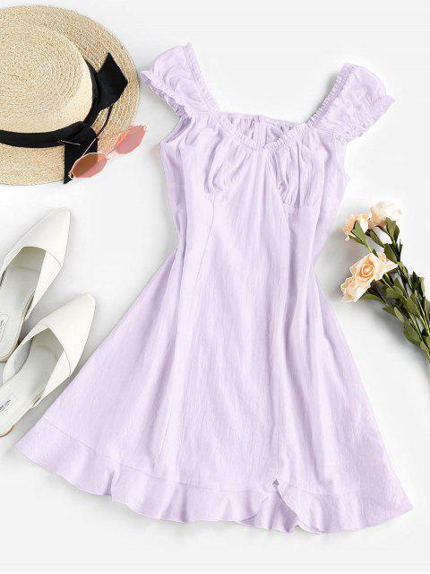 new ZAFUL Frilled Flounce Mini A Line Dress - LIGHT PURPLE S Mobile