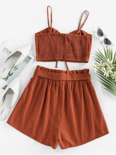 fancy ZAFUL Cinched Top and Paperbag Shorts Two Piece Set - BROWN S Mobile
