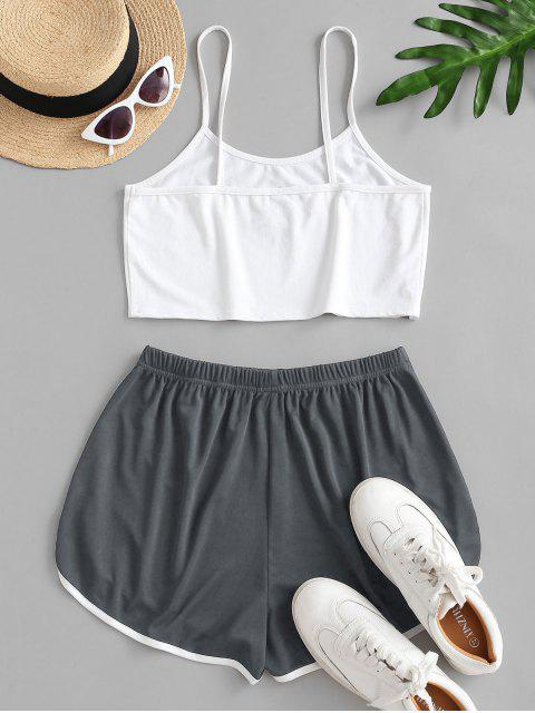 ladies Sun Embroidered Contrast Piping Two Piece Set - GRAY S Mobile