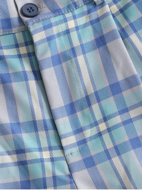 fancy High Waisted Plaid Wide Leg Shorts - BLUE M Mobile