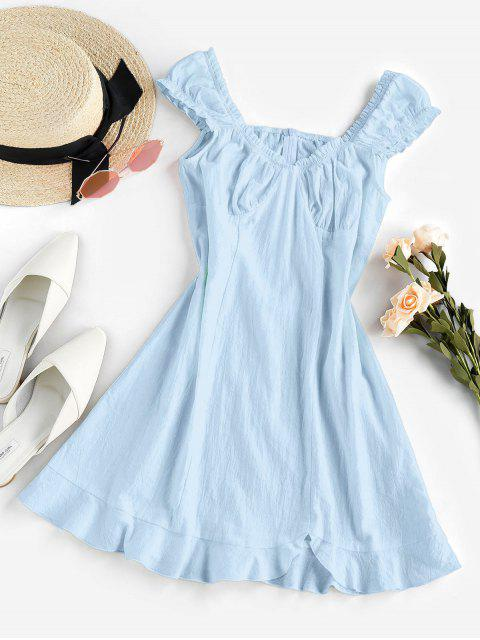 ladies ZAFUL Frilled Flounce Mini A Line Dress - LIGHT BLUE M Mobile