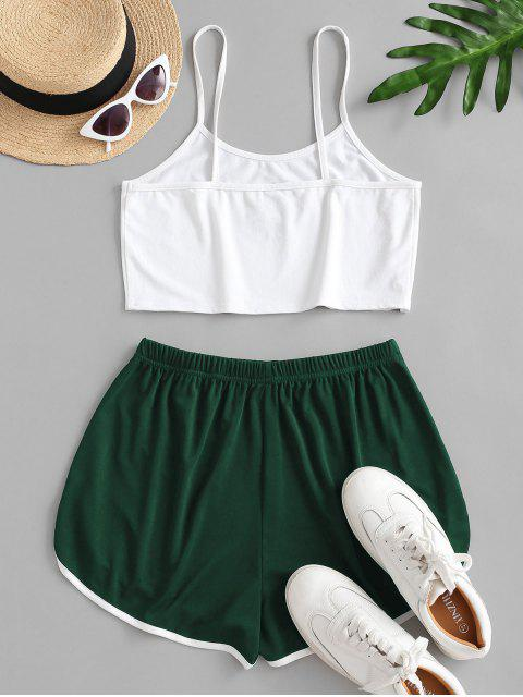 shops Sun Embroidered Contrast Piping Two Piece Set - DEEP GREEN M Mobile