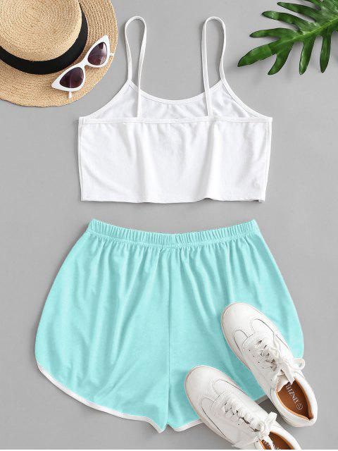 fashion Sun Embroidered Contrast Piping Two Piece Set - LIGHT BLUE L Mobile