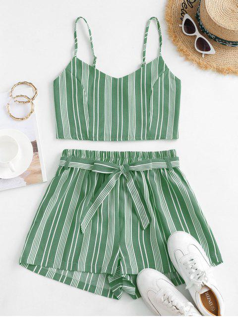 best Striped Smocked Co Ord Set - GREEN XL Mobile