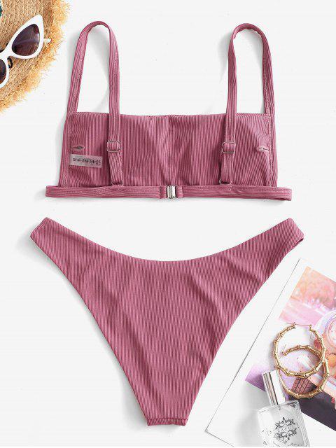 ladies ZAFUL Ribbed Square Collar Bikini Swimwear - PALE VIOLET RED M Mobile