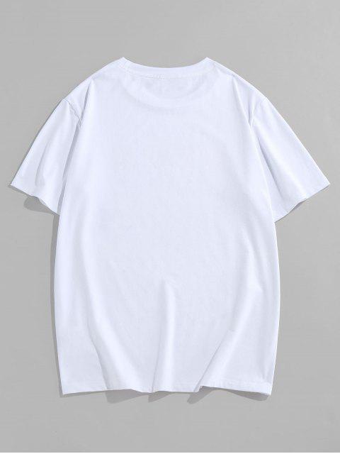 ZAFUL Camiseta de Manga Larga con Estampado de Carácter Chino - Blanco S Mobile