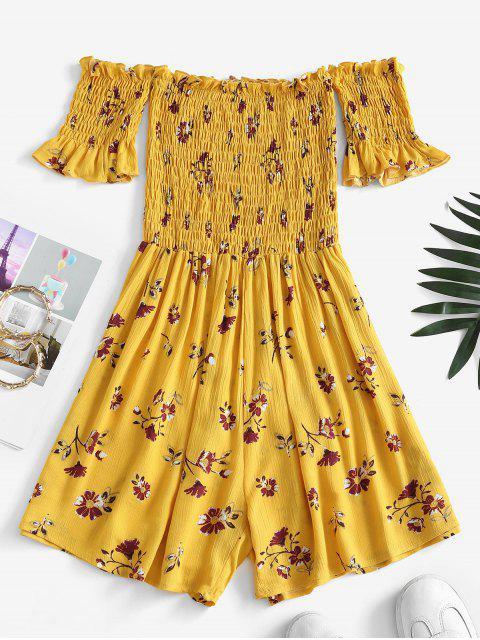 women's Flower Print Smocked Off Shoulder Wide Leg Romper - YELLOW L Mobile