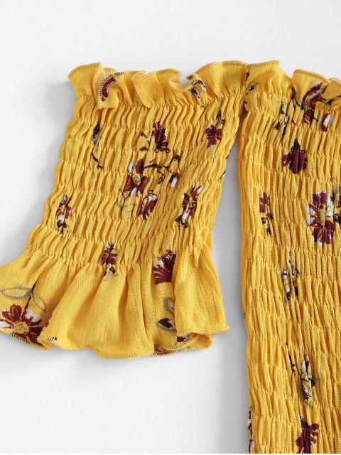 shops Flower Print Smocked Off Shoulder Wide Leg Romper - YELLOW S Mobile