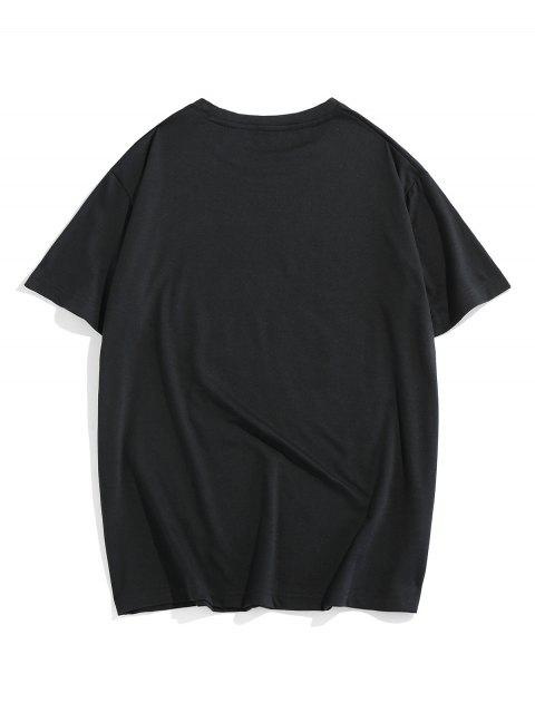 best ZAFUL Letter Graphic Print Casual T-shirt - BLACK 2XL Mobile