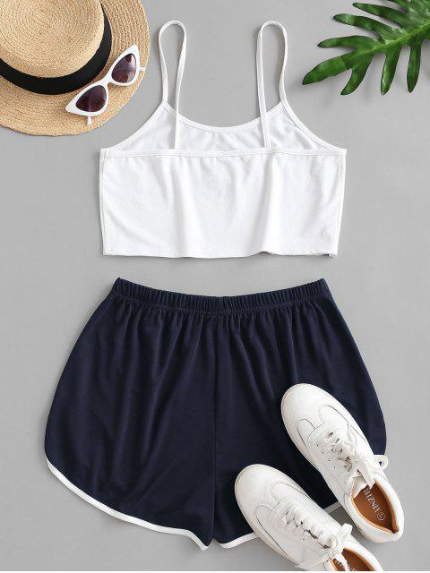 outfits Sun Embroidered Contrast Piping Two Piece Set - DEEP BLUE L Mobile