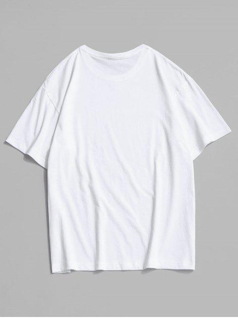 T-shirt Graphique Slogan Dessin Animé Imprimé - Blanc 4XL Mobile