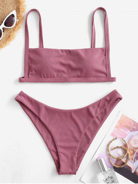 women's ZAFUL Ribbed Square Collar Bikini Swimwear - PALE VIOLET RED S Mobile