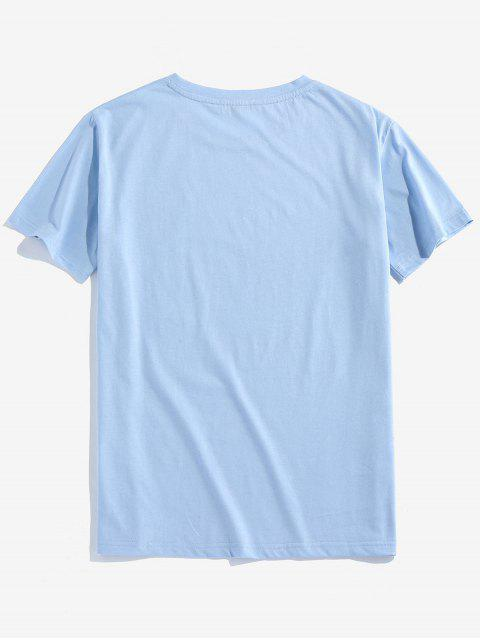 ZAFUL Carta Gráfico Impresso T-shirt - Azul claro 2XL Mobile