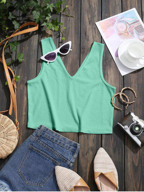 ladies Ribbed Dual V Neck Crop Tank Top - GREEN M Mobile