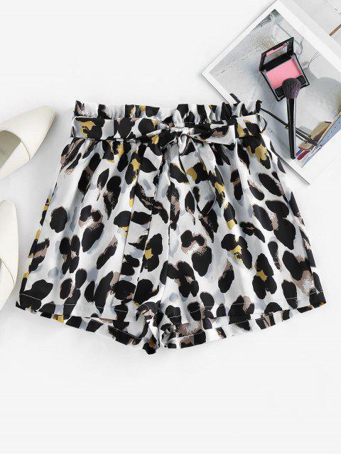 women ZAFUL Belted Leopard Paperbag Shorts - MULTI-C M Mobile