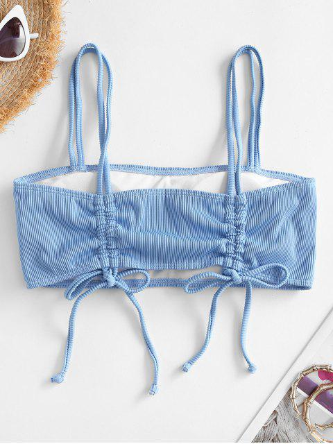ZAFUL Cinched Dual Straps Ribbed Bikini Top - أزرق فاتح L Mobile