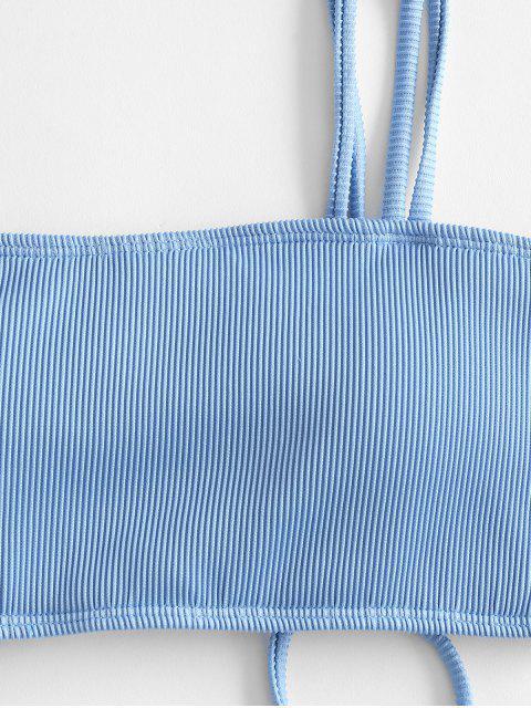 womens ZAFUL Cinched Dual Straps Ribbed Bikini Top - LIGHT BLUE L Mobile
