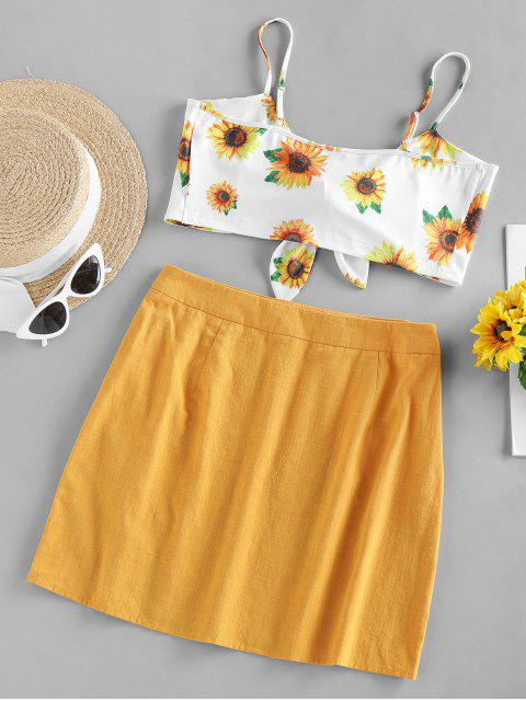 womens ZAFUL Front Tie Sunflower Print Two Piece Dress - YELLOW L Mobile