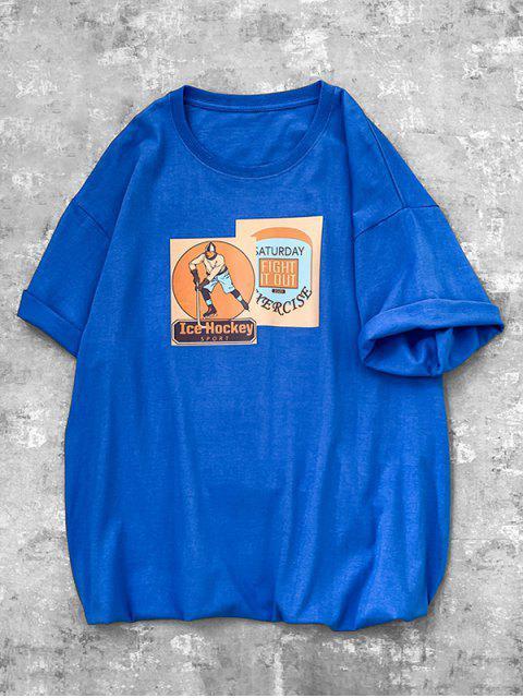 Camiseta mangas longas com estampa gravata falsa - Azul L Mobile