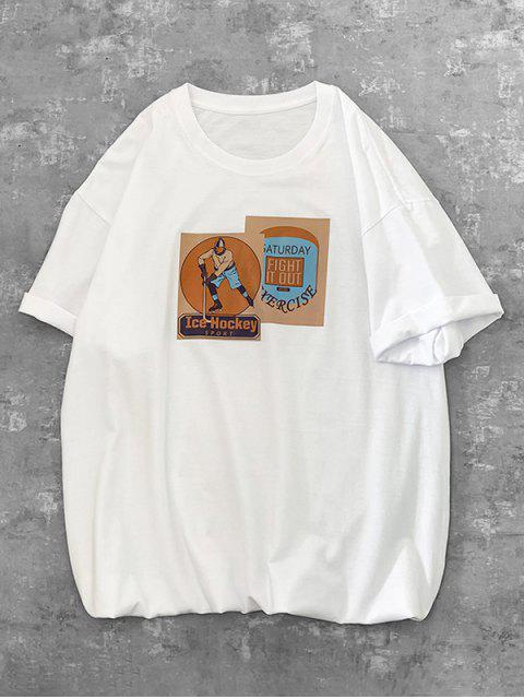 Camiseta mangas longas com estampa gravata falsa - Branco M Mobile