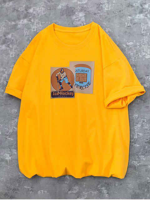Camiseta mangas longas com estampa gravata falsa - Amarelo L Mobile