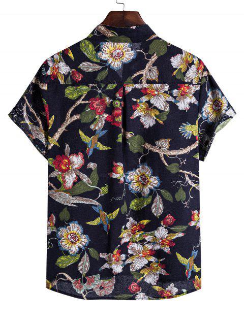 hot Ethnic Floral Birds Print Stand Collar Henley Shirt - BLACK XL Mobile