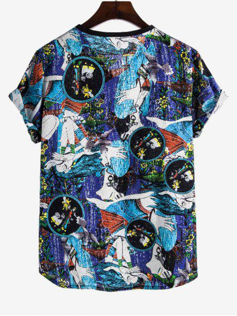 Ethnic Girl Print Rolled Sleeve V Neck T Shirt - متعدد 3XL Mobile