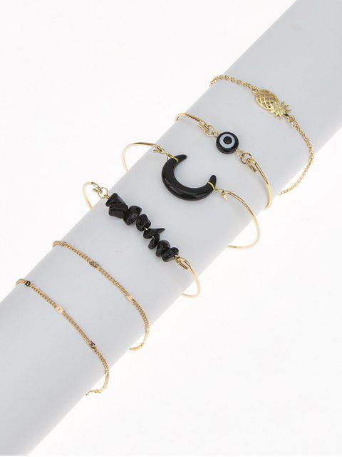 ladies 6Pcs Natural Stone Moon Bracelet Set - GOLDEN  Mobile
