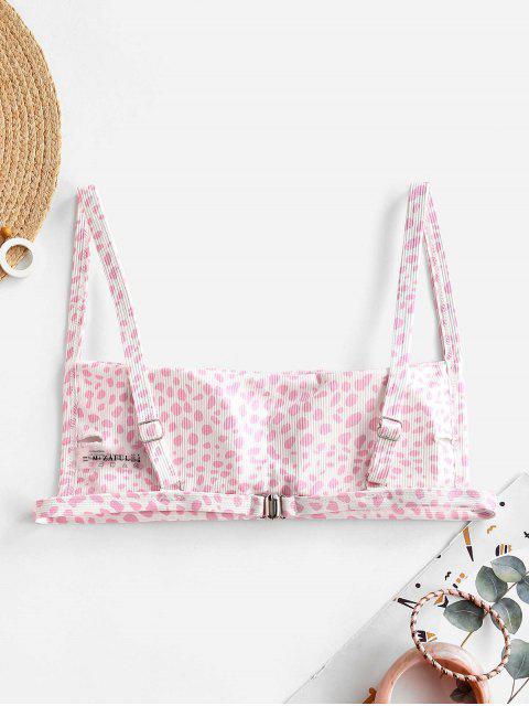 fancy ZAFUL Animal Print Ribbed Square Bikini Top - PIG PINK L Mobile